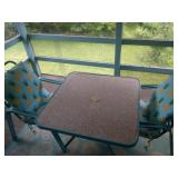 Patio table, 2 chairs & cushions, rug, step ladder