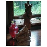 wood Pied Piper statue (16 inches) red glass vase