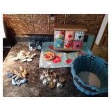 6 drawer stoarge box, blue trivet, 2 coasters,