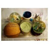tote of snow globes, musical trinket box, bank,