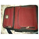 misc lot - medium size luggage, 2 purses, alarm