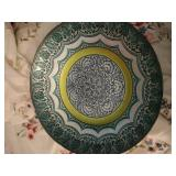 blue/green metal bowl (16 inches), watches, watch