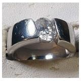 Sterling Silver Ring with clear stone, 6.7 grams