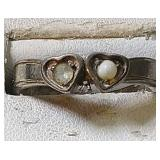 Sterling Silver Ring - 2 hearts, pearl and clear