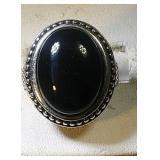 Sterling Silver Ring, large black stone, 11.0 gram