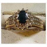 10k yg oval Sapphire Ring, 30 accent diamonds, 3.6