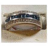 10k wg Sapphire Ring, 3.7 grams, size 7
