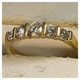 14k yg 5 CZ stone ring, 2.2 grams, size 7