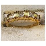 14k yg 5 CZ Princess cut ring, 4.2 grams, size 8