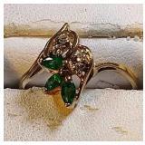 14k yg Emerald and Diamond ring, 2.1 grams