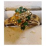 14k yg Emerald and Diamond ring, 3.4 grams