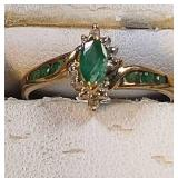 14k yg Emerald Ring, 1.6 grams, size 7