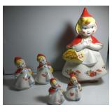 Little Red Riding Hood cookie jar and 2 sizes of