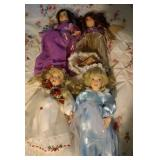 4 Porcelain dolls - marked Bavaria Rose