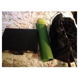 misc lot - digital antenna, briefcase, yoga mat,