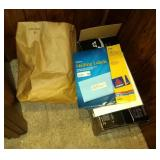 contents on floor - mailing labels, HP Desk jet