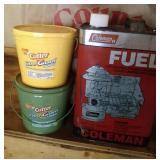 Coleman fuel (1/3 full), Cirto candles, and Tiki