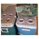 3 coolers (2 large and 1 camoulage)