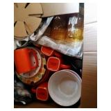 large box of misc dishes - some Rachael Ray