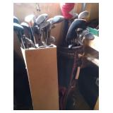 Wilson golf bag and large lot of clubs