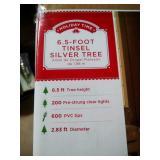 6.5 foot pre-lit silver tinsel Christmas tree