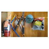 contents of south  wall - fire extinguisher, hedge