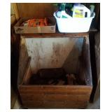 wood box on wheels and 2 flats of insecticides