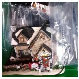 4 totes of Christmas decor - moving Lemax carousel
