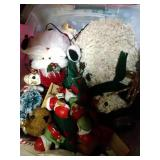 4 totes of Christmas decor - mouse ornaments,