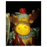 4 totes of Christmas decor - wood carved Moose
