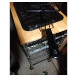 contents under stairs - rollaway kitchen cart,