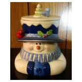 Snowman (blue hat) Cookie Jar by Houston Harvest
