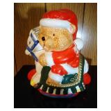 Christmas Bear on horse Cookie Jar  - 10 inches