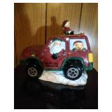 Santa in a Jeep Cookie Jar by Cooks Club - 11.5 in