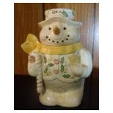 Snowman (yellow scarf) Cookie Jar  - 10 inches