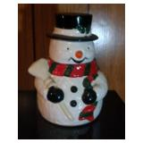 Snowman (red/green scarf) Cookie Jar by OGGI -