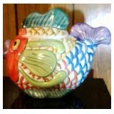 Colorful Fish Cookie Jar - 12.5 inch long and 10