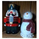 Nutcracker and small Snowman Cookie Jars - 12 inch