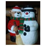 Snowman and Christmas Bear Cookie Jar - 11 inches
