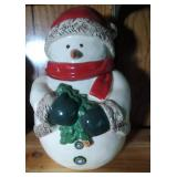 Snowman (red hat and cape) Cookie Jar - 11 inches