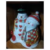 Mr. & Mrs. Snowman Cookie Jar - 11.5 inches