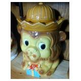 Lion with Gift Cookie Jar, marked Japan - 11 inch