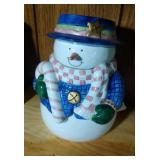 Snowman (blue hat & jacket) Cookie Jar - 9.5 inch