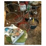 garden supplies - 4 tomato cages, 4 hanging basket