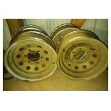 lot of 4 steel rims with 3 chrome, 16 inch by 7