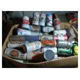 large box of vintage beer cans  - box is 24 inch