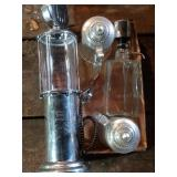 2 glass decanters and 2 glass steins