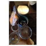 lot of vases, vintage canning lids and plastic