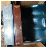 leather briefcase and 2 photo albums
