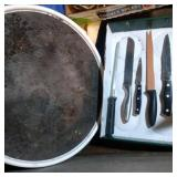 Knives, steel and lazy susan